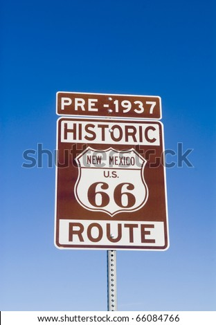 Sign showing the historic pre 1937 Route 66 in New Mexico