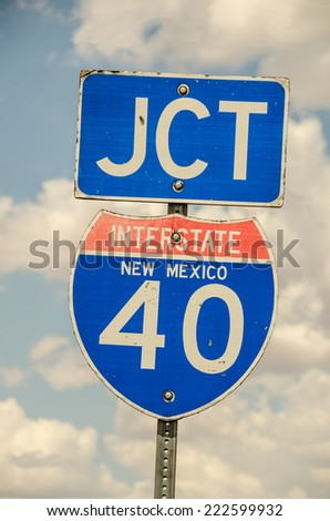 Sign showing the junction of Interstate 40 in New Mexico.  Much of Route 66 is now part of I-40. - stock photo