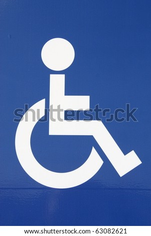 Sign showing the symbol for disabled accessibility - stock photo