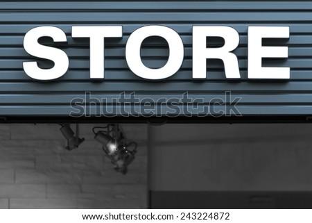 sign, store, neon, white - stock photo