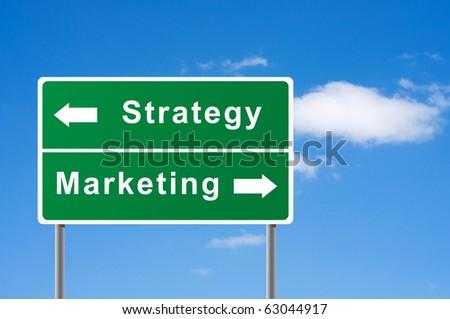Sign strategy marketing sky background. - stock photo