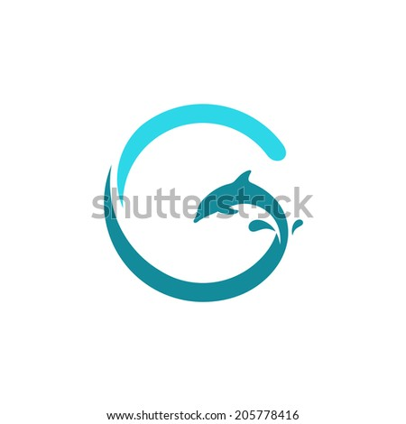 Sign the letter G, dolphin Branding Identity Corporate logo design template Isolated on a white background - stock photo