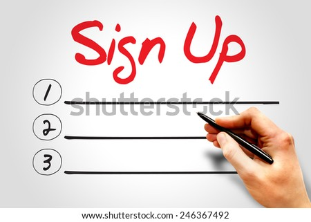 SIGN UP blank list, business concept - stock photo