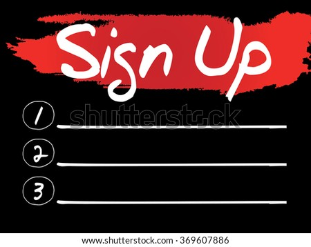 Sign Up Blank List, concept background - stock photo