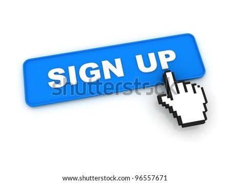 Sign Up Button with Hand Cursor - stock photo