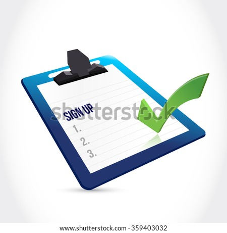 sign up clipboard and check mark illustration design graphic - stock photo