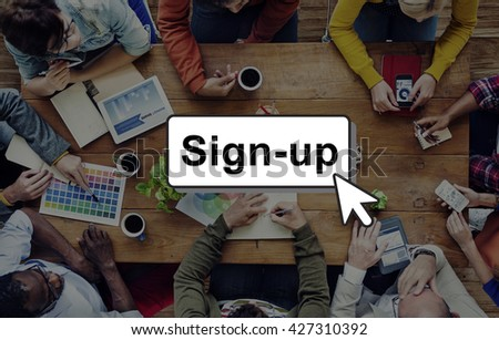 Sign-Up Join Login Member Network Page User Concept - stock photo