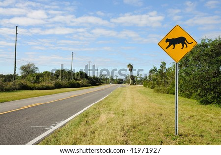 Sign warning of Florida panther habitat in the Everglades