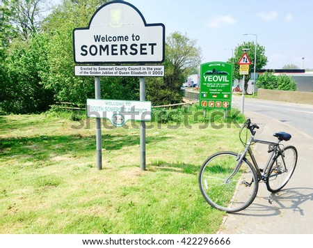 Sign Welcome to Somerset and Yeovil, England, UK - stock photo