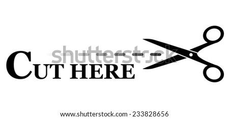 sign with black scissors silhouette cutting dotted lines - stock photo