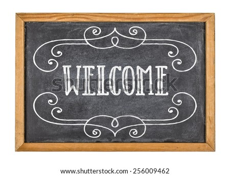 Sign with the text Welcome - stock photo
