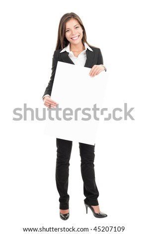 Sign woman. Businesswoman holding big commercial billboard sign. Beautiful mixed race chinese / caucasian woman in full length isolated on white background. - stock photo