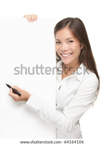 Sign writing. Businesswoman showing blank sign. Business concept isolated on white background - stock photo