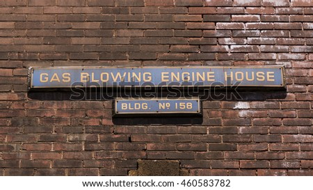 Signage on a factory building at the former Bethlehem Steel Corporation in Bethlehem, Pennsylvania.