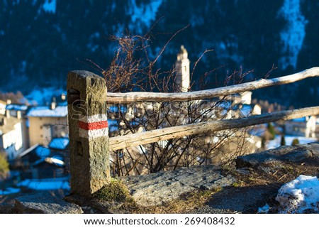 Signal mountain trail above a country - stock photo