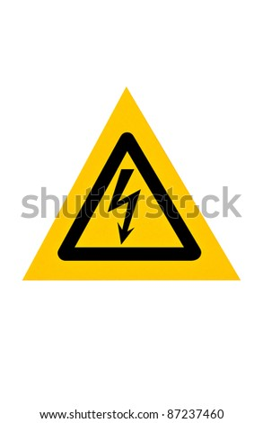 Signal of danger of electrocution from high voltage isolated in white background - stock photo