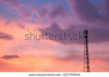 signal pole with evening sky background