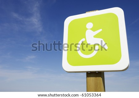 signal that indicate priority parking for disabled vehicles - stock photo