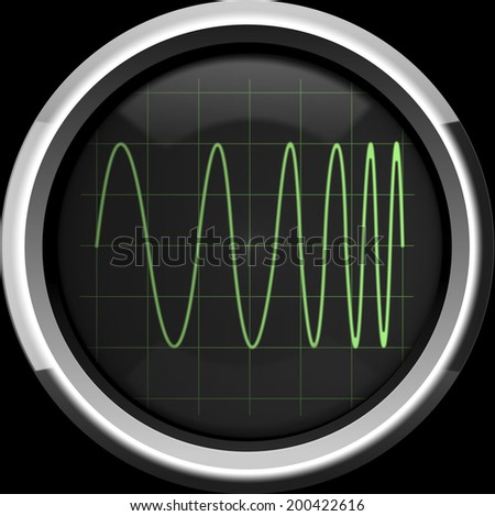 Signal with frequency modulation (FM) on the oscilloscope screen in green tones, background - stock photo
