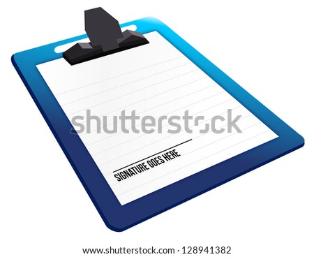 signature here on a clipboard illustration design
