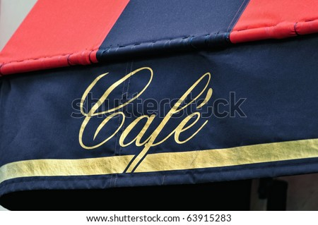 Signboard by entrance in cafe. Paris. France - stock photo