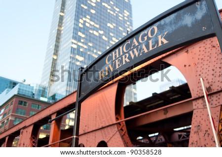 "Signboard ""Chicago riverwalk"" near bridge in Chicago downtown, Illinois - stock photo"