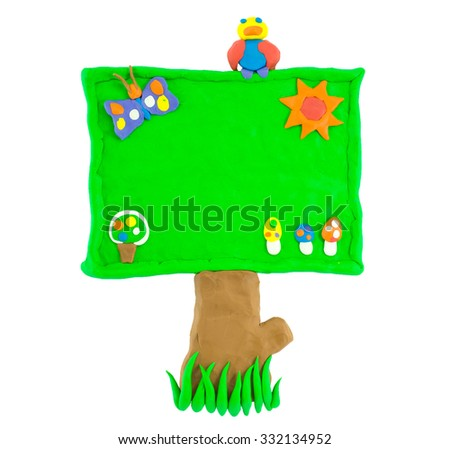 Signboard made from plasticine green isolated on white. - stock photo