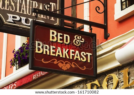 Signboard of a bed and breakfast, Kenmare, County Kerry, Republic of Ireland - stock photo