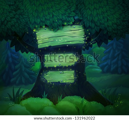 signboard on a tree in the night forest. Illustration - stock photo