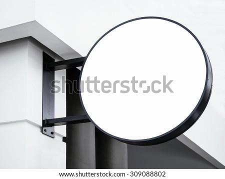 Signboard shop Mock up Circle shape - stock photo