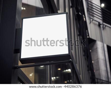 Signboard shop Mock up square shape Shop Front display - stock photo