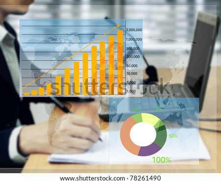 Signing business contracts with the graph - stock photo