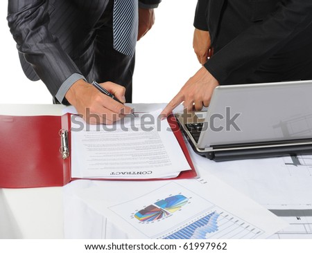 Signing the document partners. Isolated on white background - stock photo
