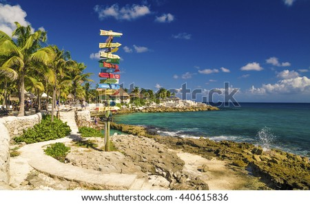 signpost beach mexico - stock photo