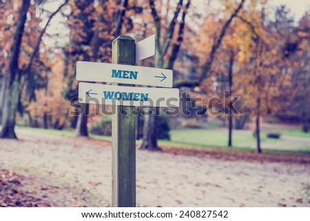 Signpost in a park or forested area with arrows pointing two opposite directions towards Men and Women. - stock photo