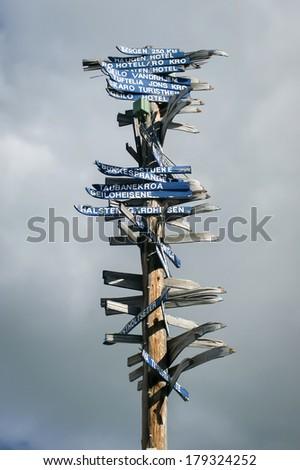 Signpost in Geilo, Norway - stock photo