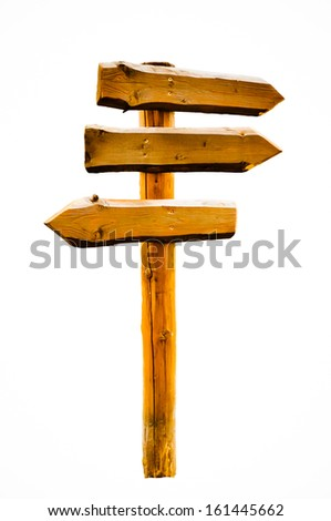Signpost indicates left and right directions - isolated