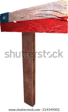 Signpost timber from Chile - stock photo