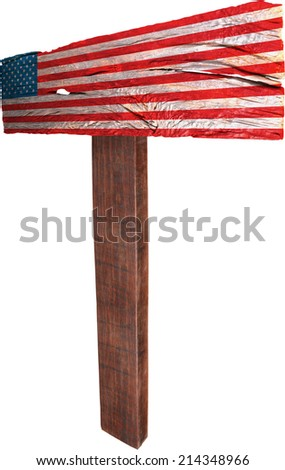 Signpost timber from USA - stock photo