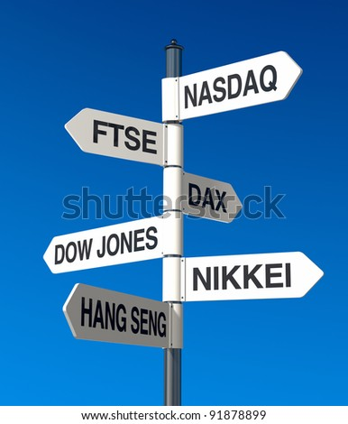 signpost with stock market names and blue sky