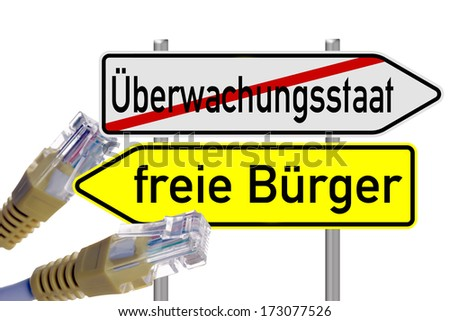 signpost with the german words surveillance state and free citizens with a network cable / surveillance state - stock photo