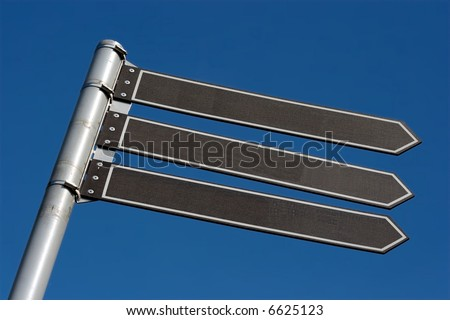 Signpost with three boards, add your own text - stock photo