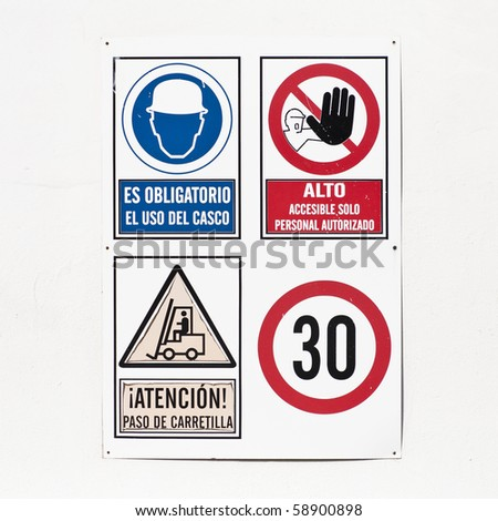signs at the building construction - stock photo
