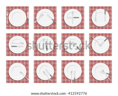 Signs for waiter in the restaurant. Dining etiquette. Cutlery on napkin. Cutlery etiquette. - stock photo
