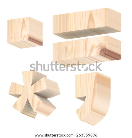 Signs from pine wood alphabet set isolated over white. Computer generated 3D photo rendering. - stock photo