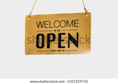 signs made wood write open hanging stock photo edit now 1107224732