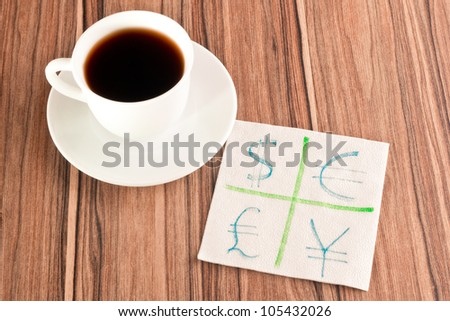 Signs of the currencies on a napkin and cup of coffee - stock photo