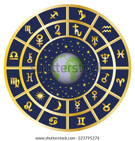 Signs of the zodiac and the planets around the Earth and the sky. - stock photo