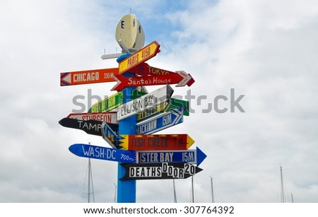 Signs to the big cities - stock photo