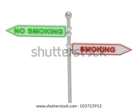 "Signs with red ""SMOKING"" and green ""NO SMOKING"" pointing in opposite directions, on white background, 3d rendering"